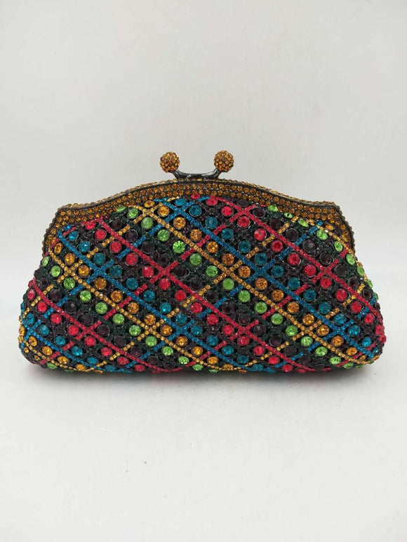 Multicolour Crystal Clutch Purse - Bhe Accessories