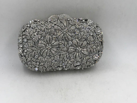 Silver Crystal Clutch Purse - Bhe Accessories