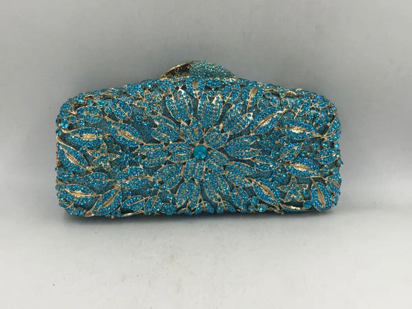 Blue Crystal Clutch Purse - Bhe Accessories