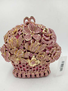 Pink Flower Basket Crystal Clutch Purse - Bhe Accessories