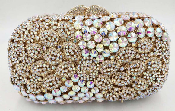 Gold AB Crystal Clutch Purse - Bhe Accessories