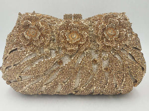 Gold Crystal Clutch Purse - Bhe Accessories