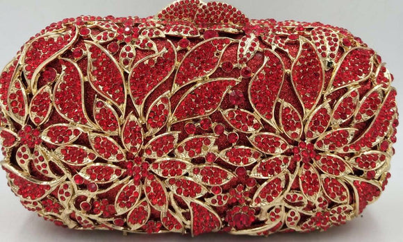 Red Crystal Clutch Purse - Bhe Accessories