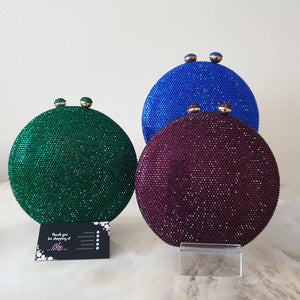 Big Round Full Crystal Clutch in Blue, Green, Purple - Bhe Accessories