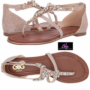 G by Guess Gold Embellished Flat Sandal - Bhe Accessories