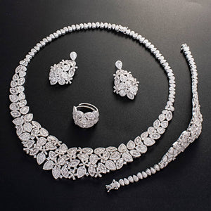 Luxury Bridal 4 Piece Cubic Zirconia Necklace, Earring, Bracelet and Ring Jewelry Set