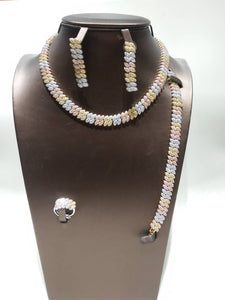 Simple 3 Tone Cubic Zirconia Necklace, Earring, Bracelet and Ring Jewelry Set - Bhe Accessories