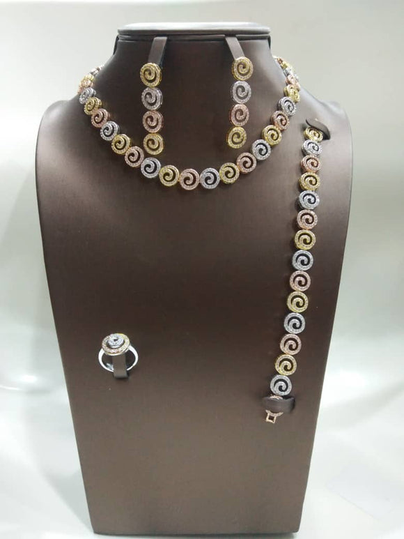 Simple 3 Tone Swril Cubic Zirconia Necklace, Earring, Bracelet and Ring Jewelry Set - Bhe Accessories