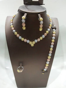 Simple 3 Tone Floral Cubic Zirconia Necklace, Earring, Bracelet and Ring Jewelry Set - Bhe Accessories
