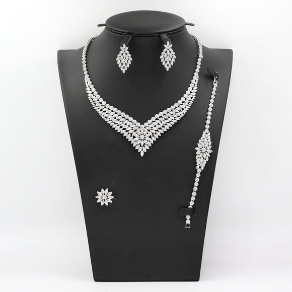 Bridal Cubic Zirconia Necklace, Earring, Bracelet and Ring Jewellry Set - Bhe Accessories