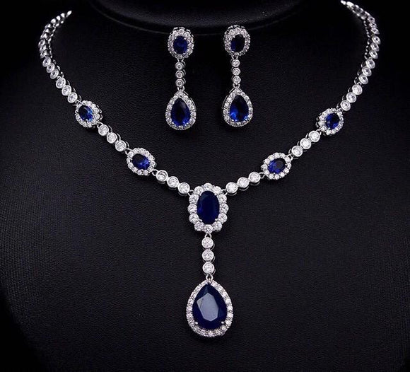 Bhe Accessories Cubic Zirconia Drop Pendant Blue Necklace and Earring Set - Bhe Accessories