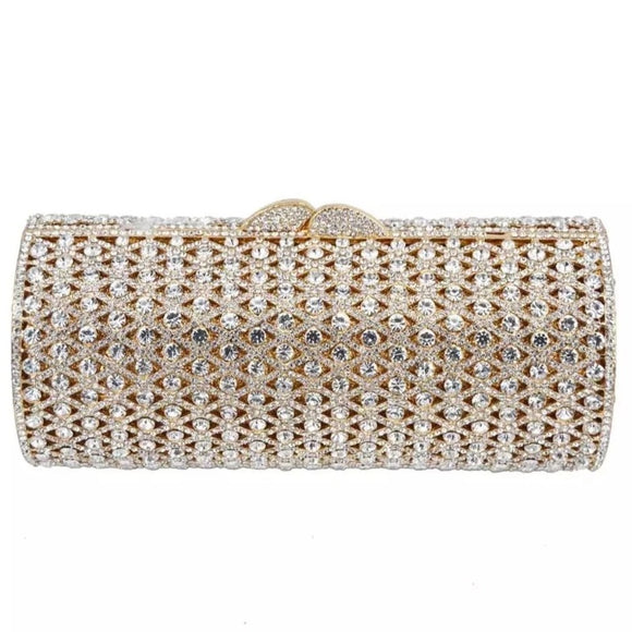 Gold Casing Clear Stones Crystal Clutch - Bhe Accessories