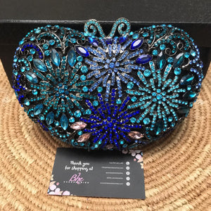 Blue, Turquoise, Teal Full  Crystal Clutch with Gun Plated Casing - Bhe Accessories