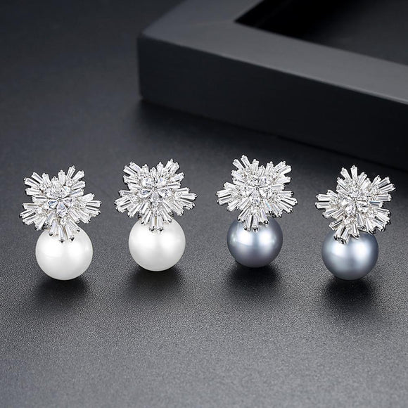 Pearl Cubic Zirconia Snowflake Earring - Bhe Accessories