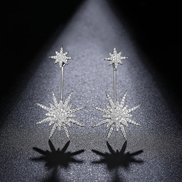 Clear Cubic Zirconia Double Stud Star Earring - Bhe Accessories