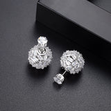 Black Cubic Zirconia Ball Double Stud Earring - Bhe Accessories