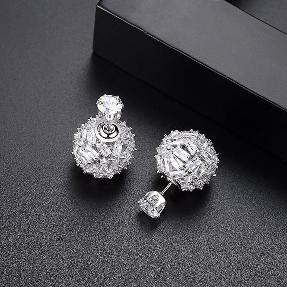 Silver Cubic Zirconia Ball Double Stud Earring - Bhe Accessories