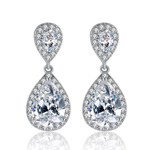 Halo Micro Pave Small CZ Diamond Teardrop Earring - Bhe Accessories