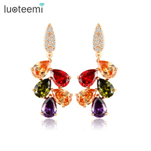Multicolour Gold Tone Cubic Zirconia Earring - Bhe Accessories