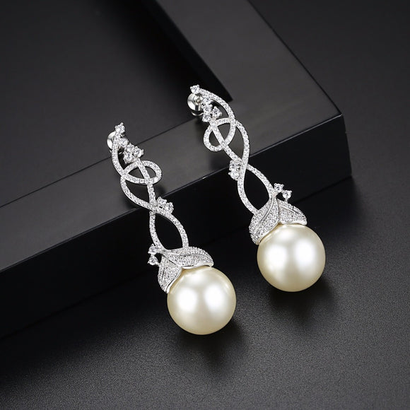Luxury Bridal Floral Pearl Earring - Bhe Accessories