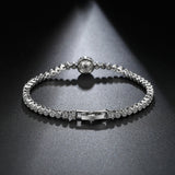 Luxury Cubic Zirconia Single Pearl Bridal Silver Tone Bracelet - Bhe Accessories