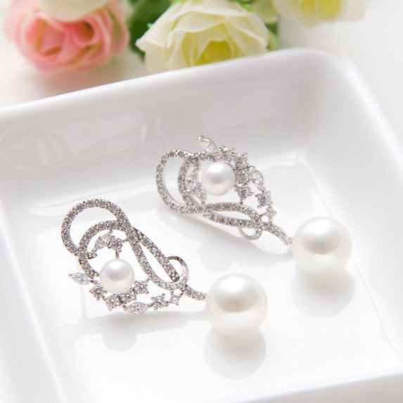 Quality Rhodium Plated Luxury Unique Design Pearl Earring - Bhe Accessories