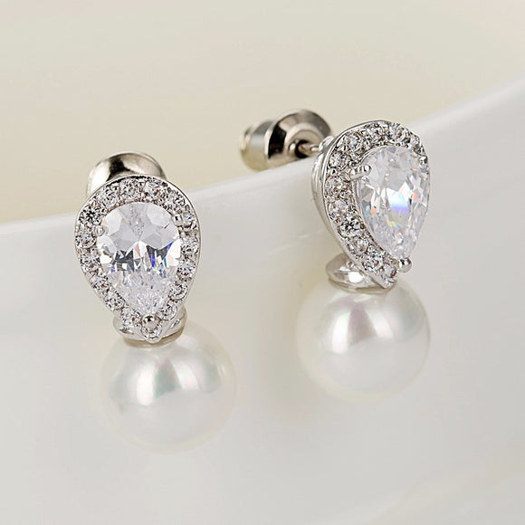 Small White Pearl Fancy Stud Earring - Bhe Accessories