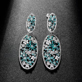 Green Oval Statement Hollow Out Dangle Drop Earrings - Bhe Accessories