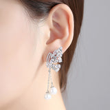 CZ Crystal Butterfly With Synthetic Pearl Drop Earrings - Bhe Accessories