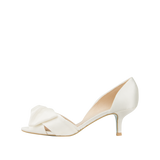 Pelle Moda Alera White Silk Kitten Heel Wedding Peep Toe - Bhe Accessories