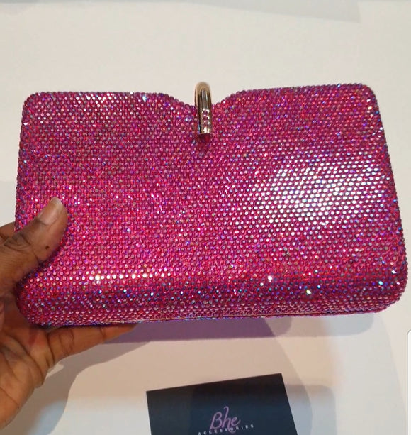 Pink Iridescent Full Crystal Clutch