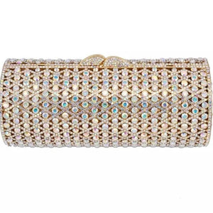 Gold Casing Cylinder AB Crystal Clutch - Bhe Accessories