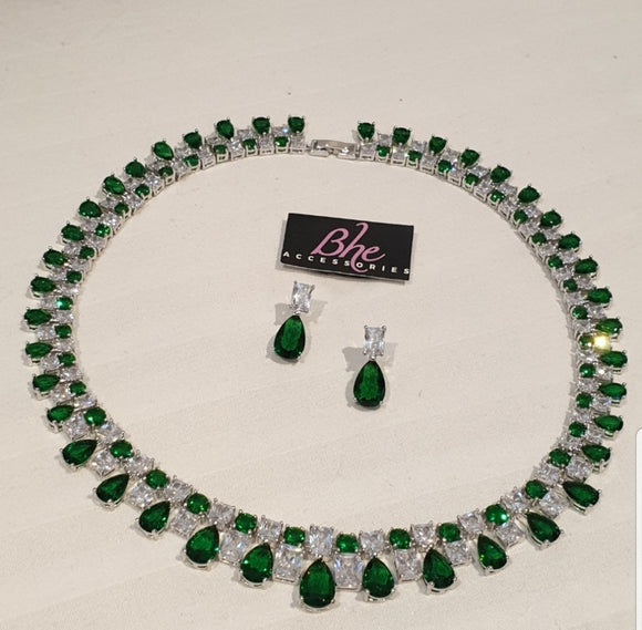 Bhe Accessories Cubic Zirconia Round Green Necklace and Earring Set