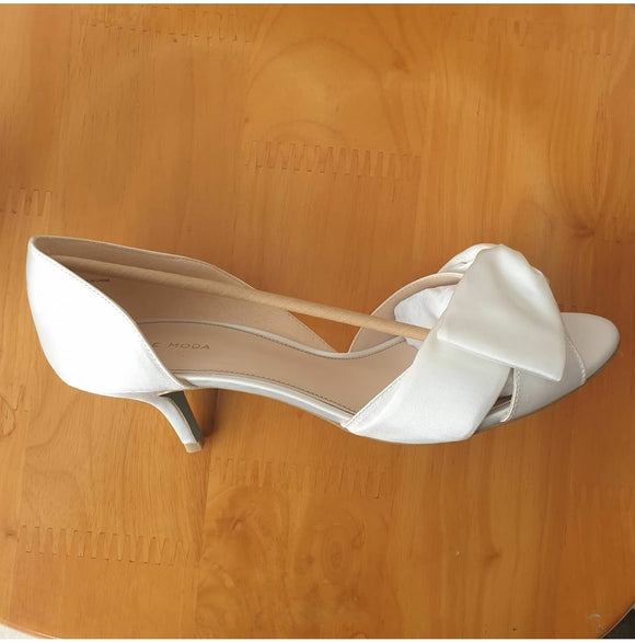 Pelle Moda Alera White Silk Kitten Heel Wedding Peep Toe