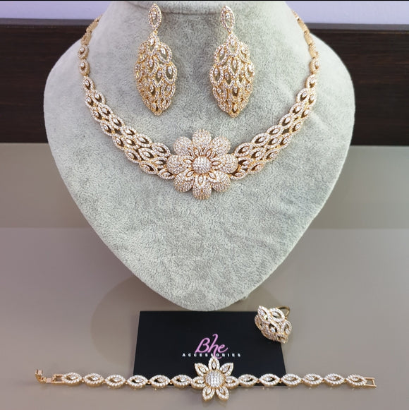 Statement Flower 4 Piece Cubic Zirconia Jewellery Set
