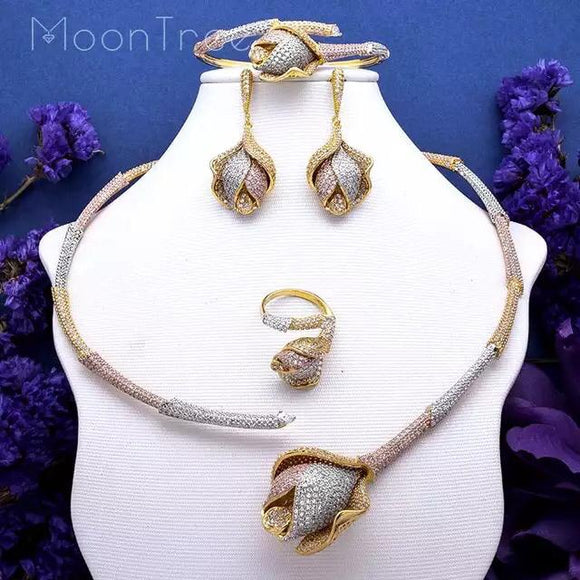 Three Tone Rose Choker Cubic Zirconia Jewelry Set - Bhe Accessories