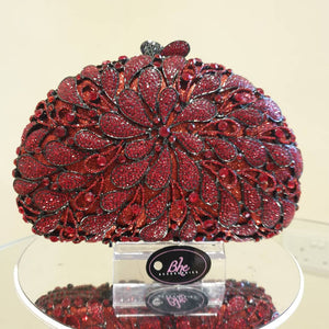 Floral Embellished Red Crystal Clutch - Bhe Accessories