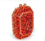 Squared Red Crystal Embellished Clutch - Bhe Accessories