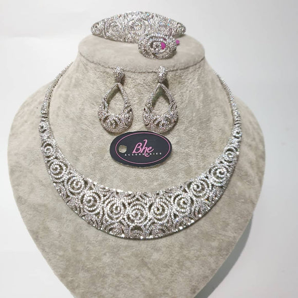 Silver Plated Luxury 4 Piece Cubic Zirconia Jewellery Set