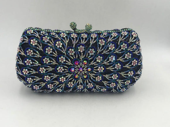 Dark Blue Multi Colour Crystal Stone Clutch Purse - Bhe Accessories