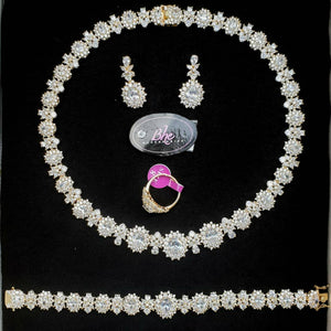 Bhe Accessories Cubic Zirconia Gold 4 Pieces Jewellery Set