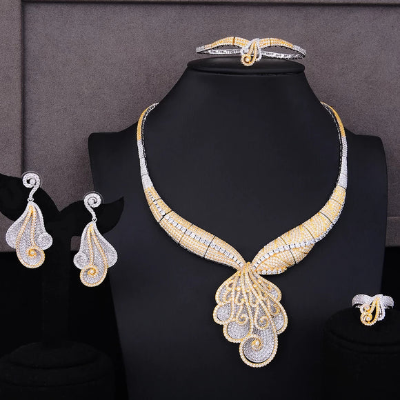Luxury Statement Two Tone Cubic Zirconia 4 Piece Jewelry Set - Bhe Accessories