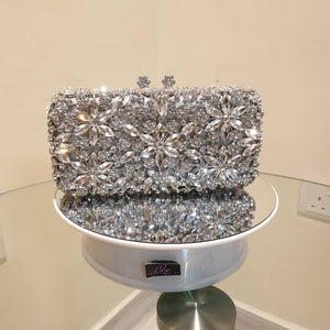 Full Crystal Silver Clutch - Bhe Accessories