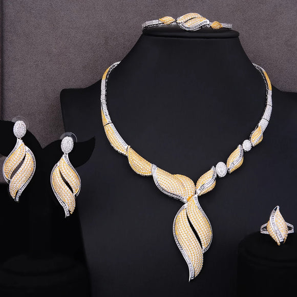 Luxury Classy Two Tone Cubic Zirconia 4 Piece Jewelry Set - Bhe Accessories