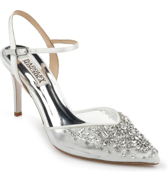 Badgley Mischka Opal Crystal Embellished White Satin Pointed Toe Pump - Bhe Accessories