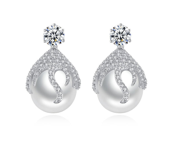 Big Pearl Cubic Zirconia Earring - Bhe Accessories