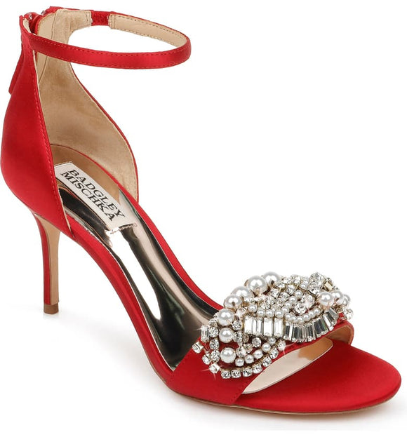 Badgley Mischka Odalis Embellished Red Satin Ankle Strap Sandal - Bhe Accessories