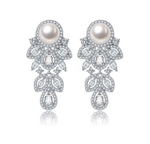 Drop Cubic Zirconia Pearl Earring - Bhe Accessories