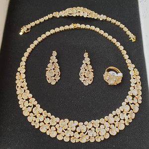 Bhe Accessories Luxury Gold Tone Cubic Zirconia 4 Pieces Jewellery Set