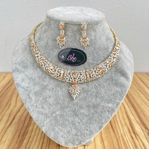 Rosegold Necklace and Earring Cubic Zirconia Jewellery Set